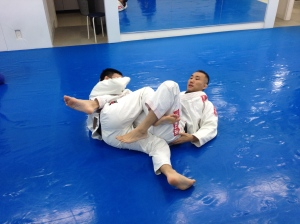 Hayakawa sensei demonstrating a pass from his opponent's inverted guard